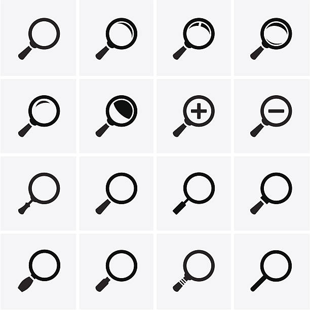 Magnifier Glass and Zoom Icons Magnifier Glass and Zoom Icons. Vector low scale magnification stock illustrations