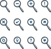Magnifier Glass Icons set. Vector.