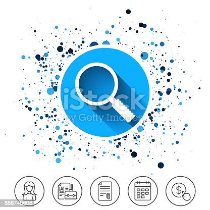 Button on circles background. Magnifier glass sign icon. Zoom tool button. Navigation search symbol. Calendar line icon. And more line signs. Random circles. Editable stroke. Vector