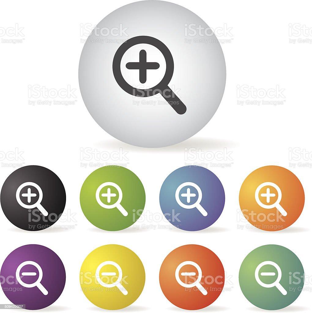 magnifier icon set vector art illustration