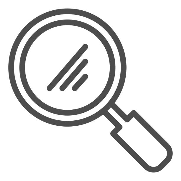 Magnifier line icon. Glass loupe, reading or searching symbol, outline style pictogram on white background. School or stationery item sign for mobile concept and web design. Vector graphics. Magnifier line icon. Glass loupe, reading or searching symbol, outline style pictogram on white background. School or stationery item sign for mobile concept and web design. Vector graphics macrophotography stock illustrations