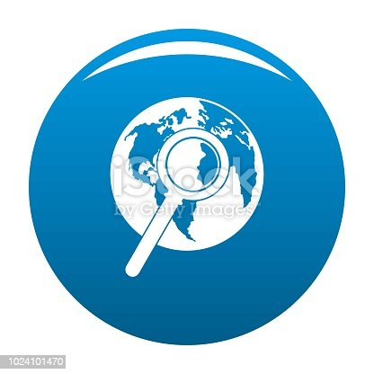 Magnifier on earth icon vector blue circle isolated on white background