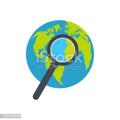 Magnifier on earth icon. Flat illustration of magnifier on earth vector icon isolated on white background