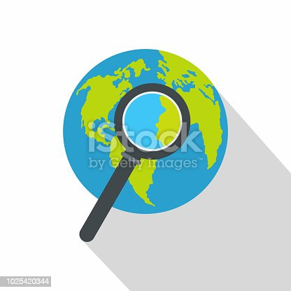 Magnifier on earth icon. Flat illustration of magnifier on earth vector icon for web