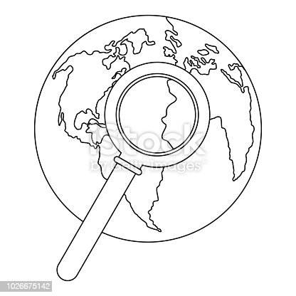 Magnifier on earth icon. Outline illustration of magnifier on earth vector icon for web