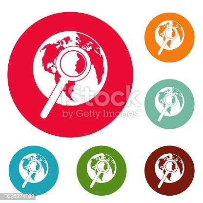 Magnifier on earth icons circle set vector isolated on white background