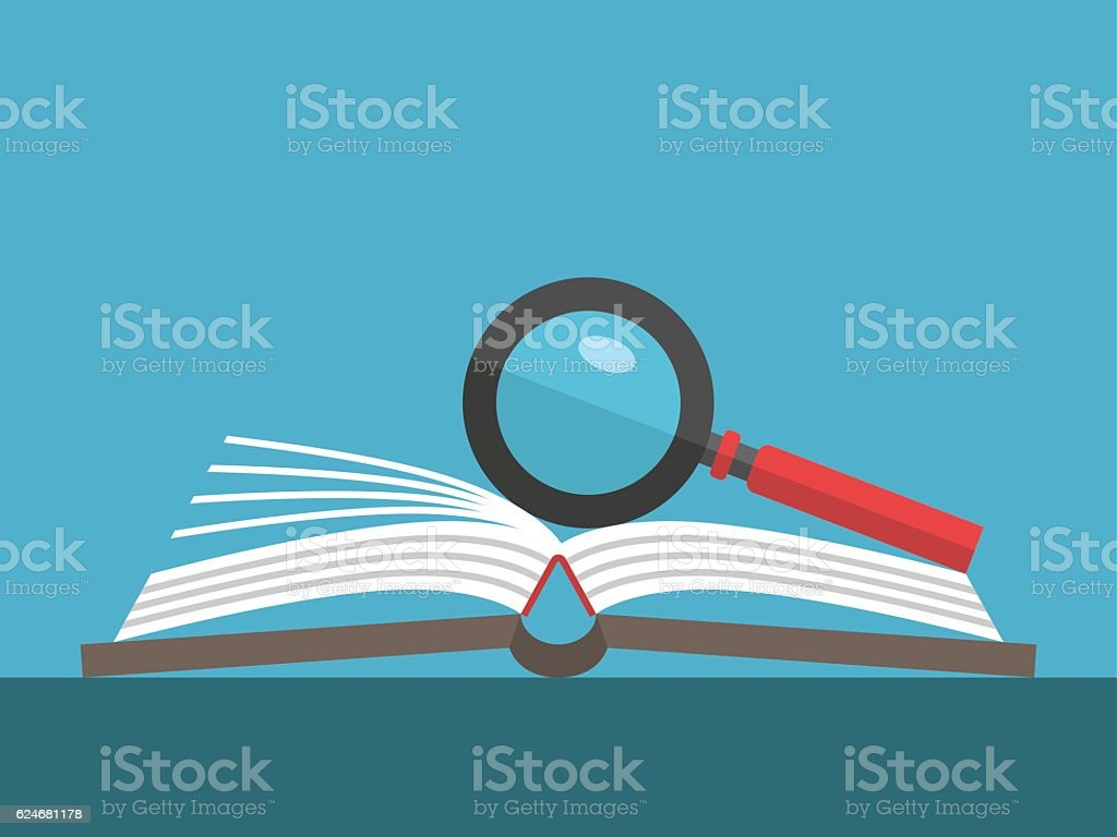 Magnifier on open book vector art illustration