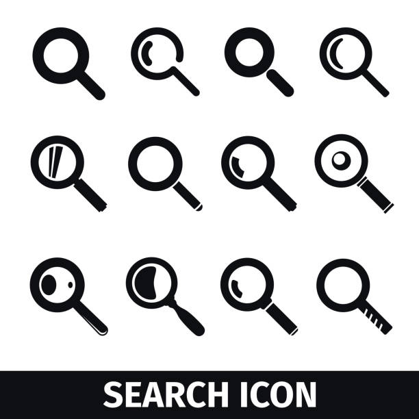 Magnifier Search icon set Magnifier symbols set, Search icon extreme close up stock illustrations