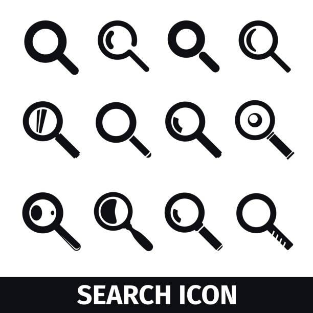 лупа поиск икона set - предельно крупный план stock illustrations