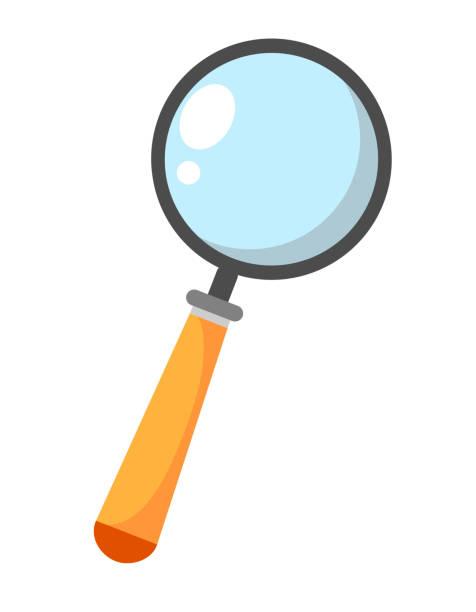 lupe suche symbol-gang zeichen, lupe zeichen-wissenschaftliche illustration-zoom. vektor-illustration auf weißem hintergrund - lupe stock-grafiken, -clipart, -cartoons und -symbole