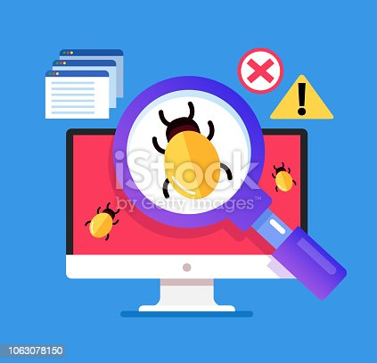 Magnifier searching malware bug. Computer internet error virus concept. Vector flat cartoon isolated graphic design