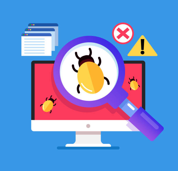 magnifier searching malware bug. computer internet error virus concept. vector flat cartoon isolated graphic design illustration - bugs stock illustrations