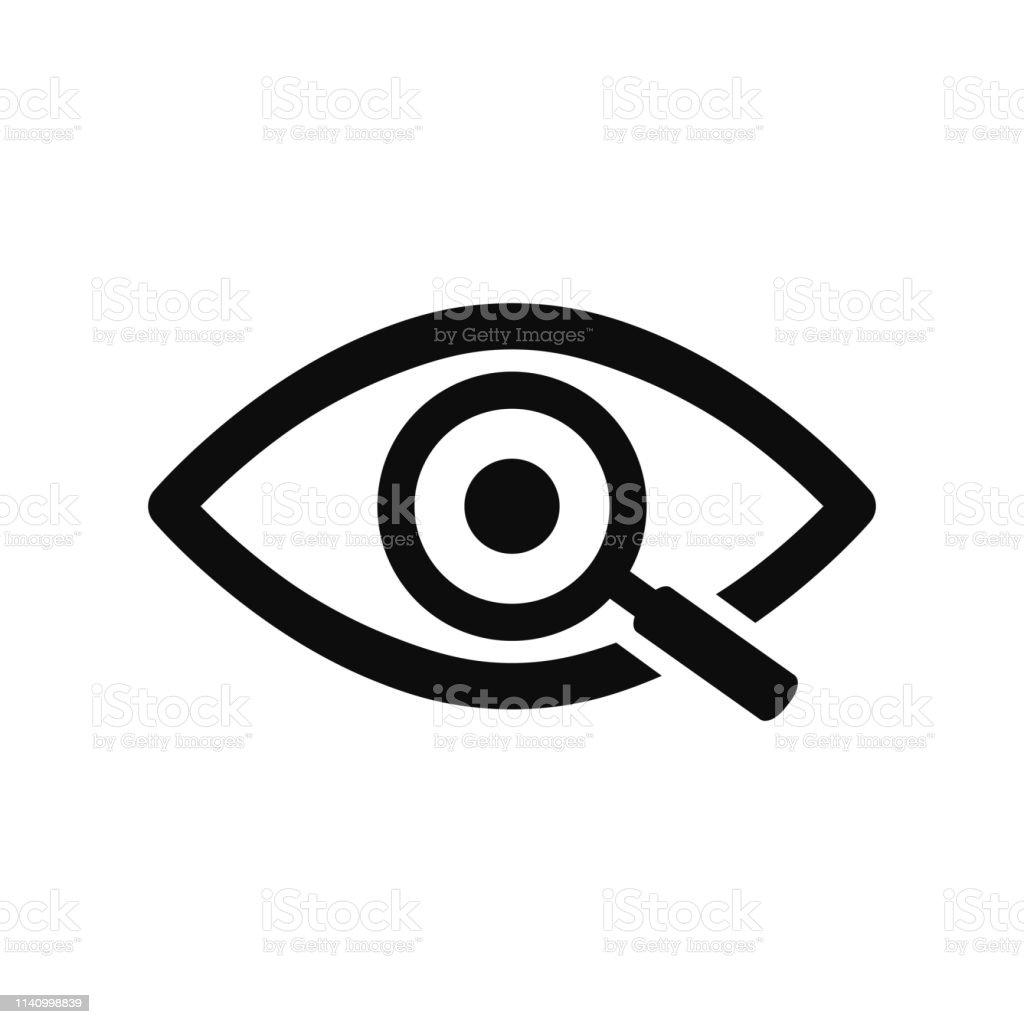 Vergrootglas met Eye outline icoon. Zoek icoon, onderzoek concept symbool. Oog met vergrootglas. Verschijning, aspect, blik, mening, creatief visie pictogram voor web en mobiel-voorraad vector - Royalty-free Analyseren vectorkunst