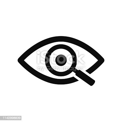 istock Magnifier with eye outline icon. Find icon, investigate concept symbol. Eye with magnifying glass. Appearance, aspect, look, view, creative vision icon for web and mobile – stock vector 1140998839