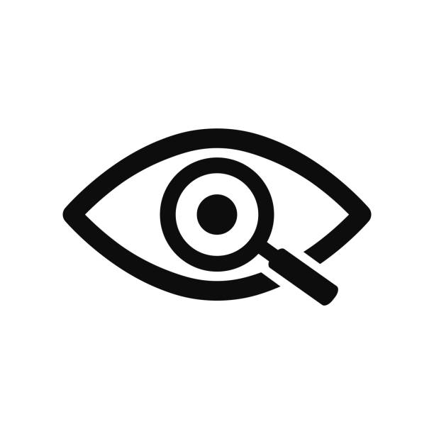 magnifier with eye outline icon. find icon, investigate concept symbol. eye with magnifying glass. appearance, aspect, look, view, creative vision icon for web and mobile – stock vector - okulary stock illustrations