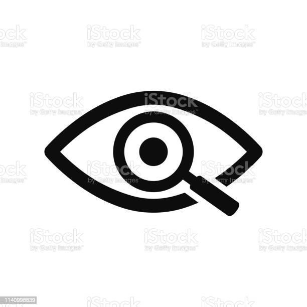 Vergrootglas Met Eye Outline Icoon Zoek Icoon Onderzoek Concept Symbool Oog Met Vergrootglas Verschijning Aspect Blik Mening Creatief Visie Pictogram Voor Web En Mobielvoorraad Vector Stockvectorkunst en meer beelden van Analyseren