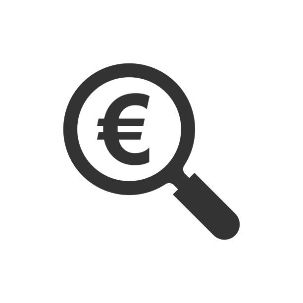 Magnify glass with euro sign icon in flat style. Loupe, money vector illustration on white isolated background. Search bill business concept. Magnify glass with euro sign icon in flat style. Loupe, money vector illustration on white isolated background. Search bill business concept. euro symbol stock illustrations