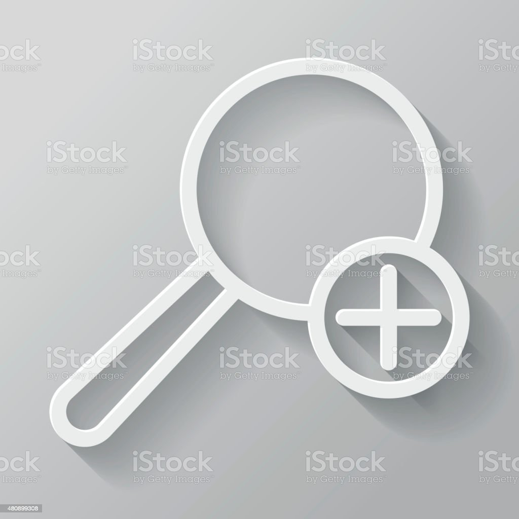 Magnify Paper Thin Line Interface Icon With Long Shadow vector art illustration