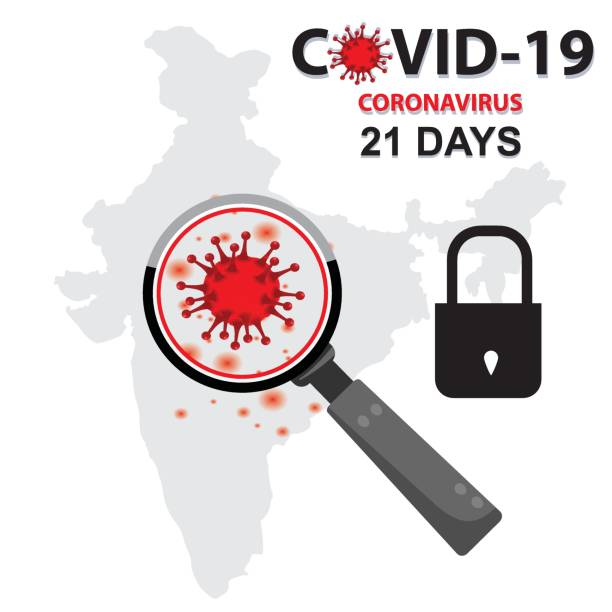 Magnifying COVID-19 during 21 days lock periods in India vector art illustration
