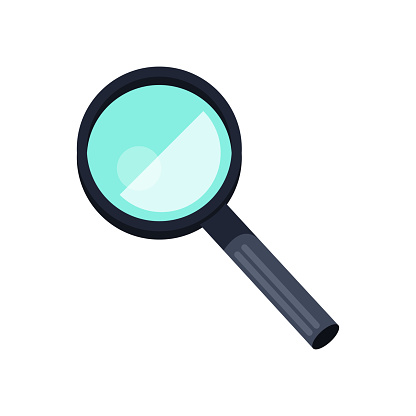 Magnifying dark blue glass icon on white background