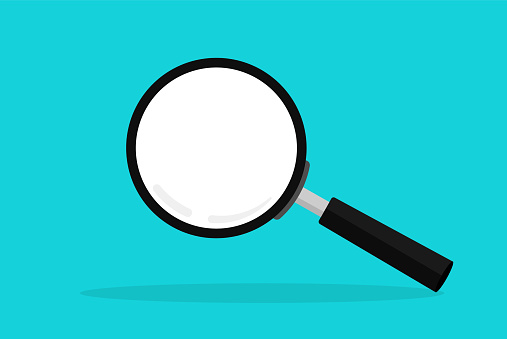 Magnifying glas in flat style on green background. Loupe icon for magnification. Vector illustration