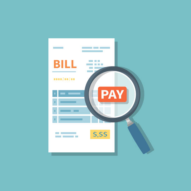 ilustrações de stock, clip art, desenhos animados e ícones de magnifying glass above bill inspects the payment. studying paying bill. paying goods, service, utility, restaurant. invoice, check, receipt sign. paper financial symbol in flat style.  vector isolated - bill
