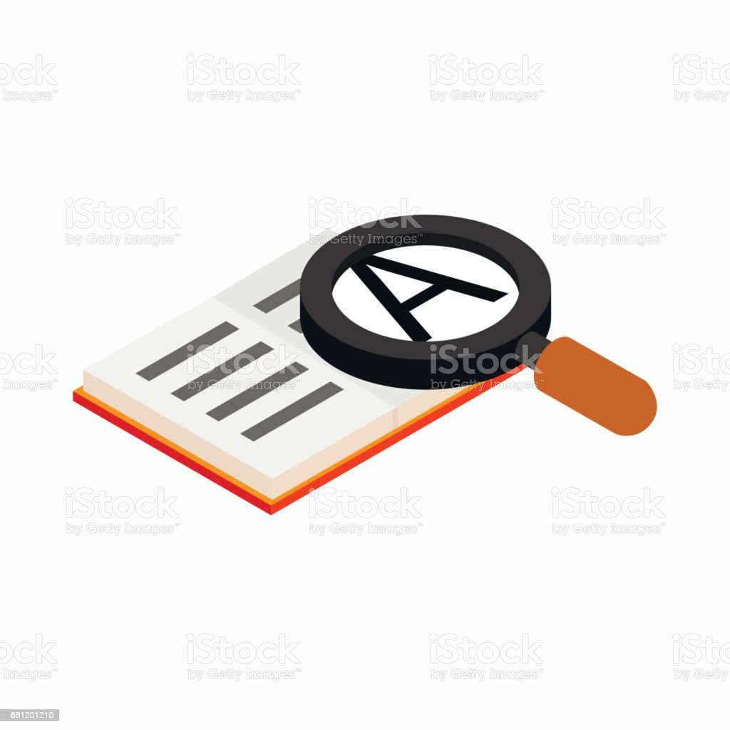 Magnifying glass and book icon, isometric 3d style vector art illustration