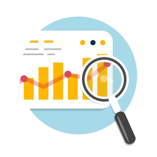 Magnifying glass and chart vector art illustration