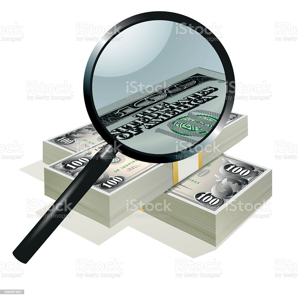 Magnifying glass and dollars vector art illustration