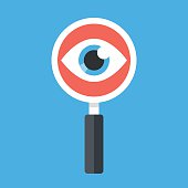 Magnifying glass and eye. Flat design vector illustration