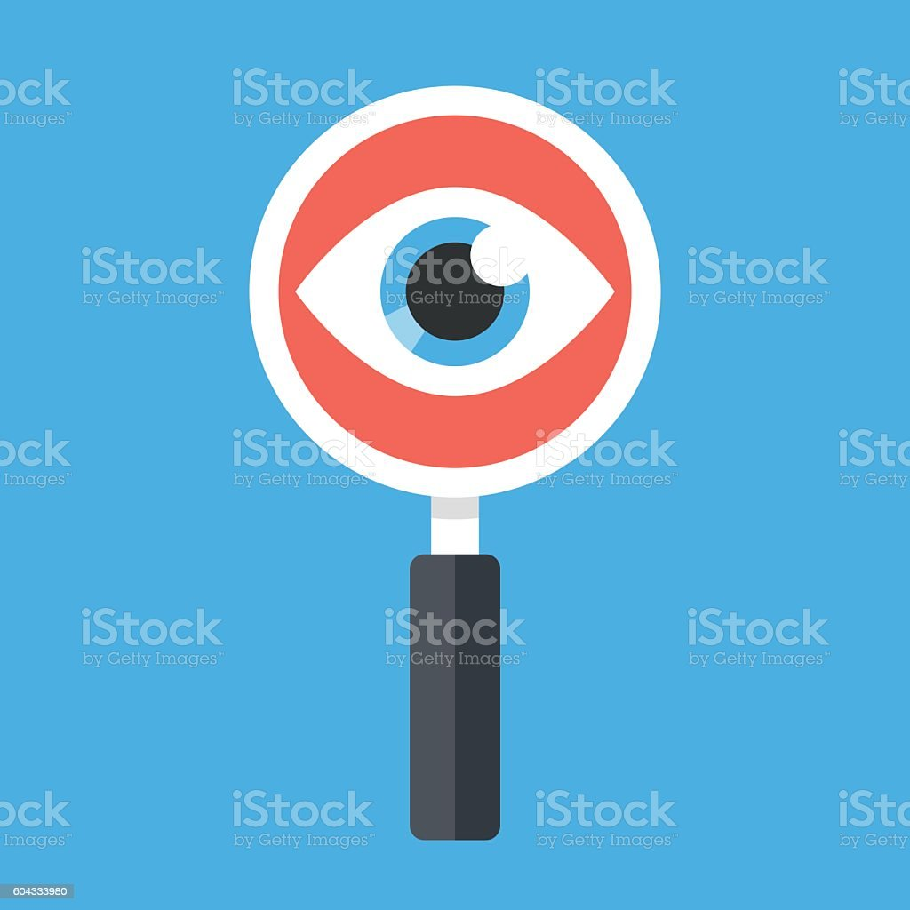 Magnifying glass and eye. Flat design vector illustration vector art illustration