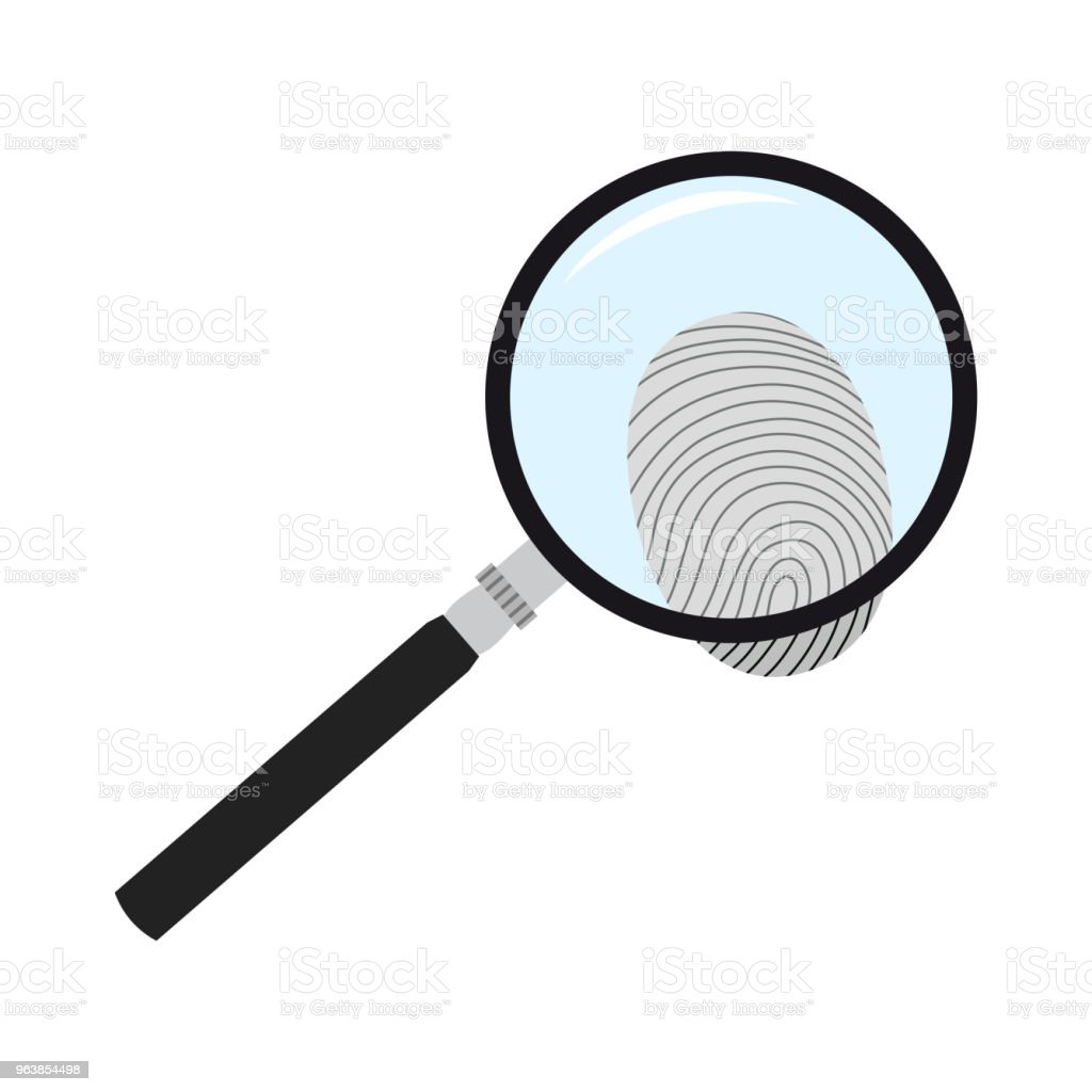 magnifying glass and fingerprint. The search for evidence. Vector illustration. - Royalty-free Clip Art stock vector
