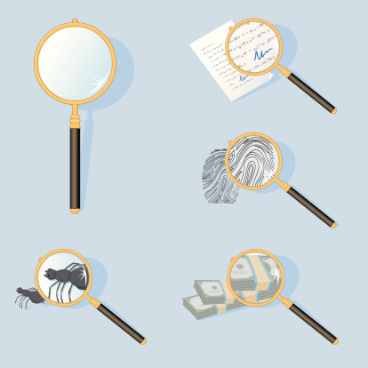 A Magnifying Glass examining various objects. All elements are grouped and layered for easy editing and isolation