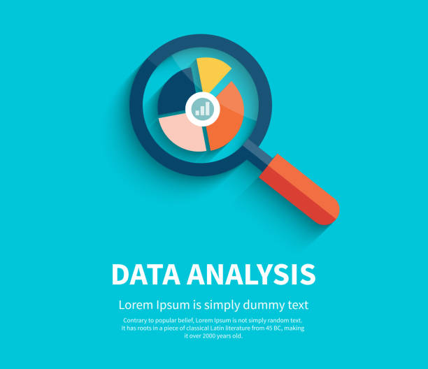 Magnifying Glass and Multi-Colored Pie Chart Banner with magnifying glass and multi-colored pie chart with the name Data analysis on blue background. For web construction, mobile applications, banners, corporate brochures, book covers, layouts  low scale magnification stock illustrations