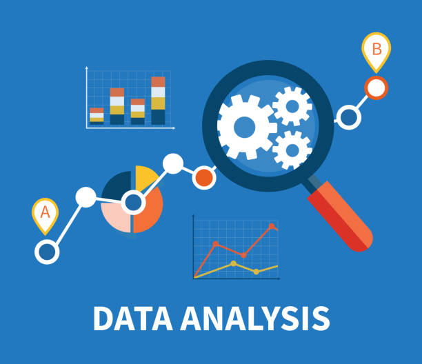 Magnifying Glass and Multicolored Pie Chart Banner with focused magnifying glass on gear and multicolored pie chart with name Data analysis on blue background. For web construction, mobile applications, banners, corporate brochures, layouts  low scale magnification stock illustrations