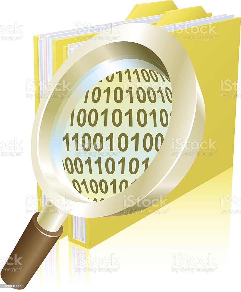 Magnifying glass binary data file folder concept royalty-free magnifying glass binary data file folder concept stock vector art & more images of analyzing