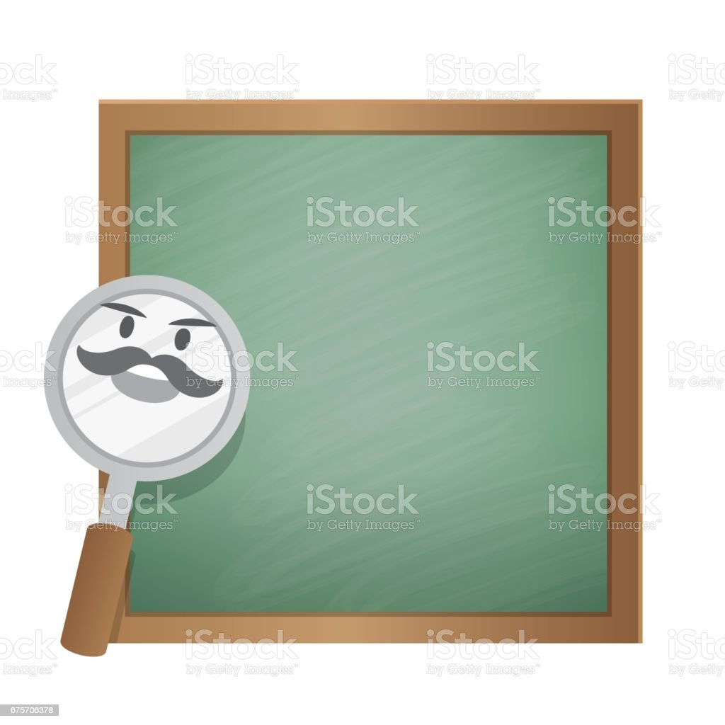 Magnifying glass character cartoon design and text box green board frame for message illustration vector. Education concept. 免版稅 magnifying glass character cartoon design and text box green board frame for message illustration vector education concept 向量插圖及更多 人的臉部 圖片