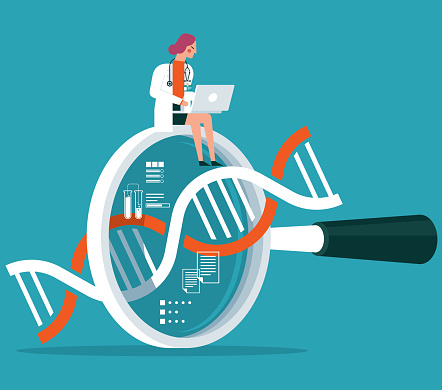 Magnifying Glass - DNA - female doctor