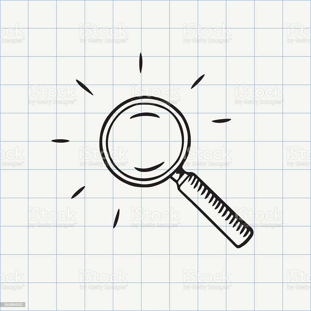 Magnifying glass doodle icon vector art illustration