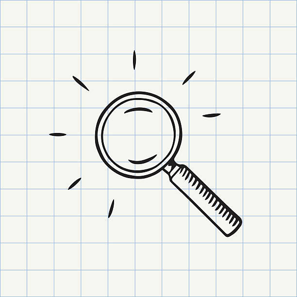 magnifying glass doodle icon - lupe stock-grafiken, -clipart, -cartoons und -symbole
