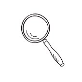 Magnifying glass doodle sketch, vector.