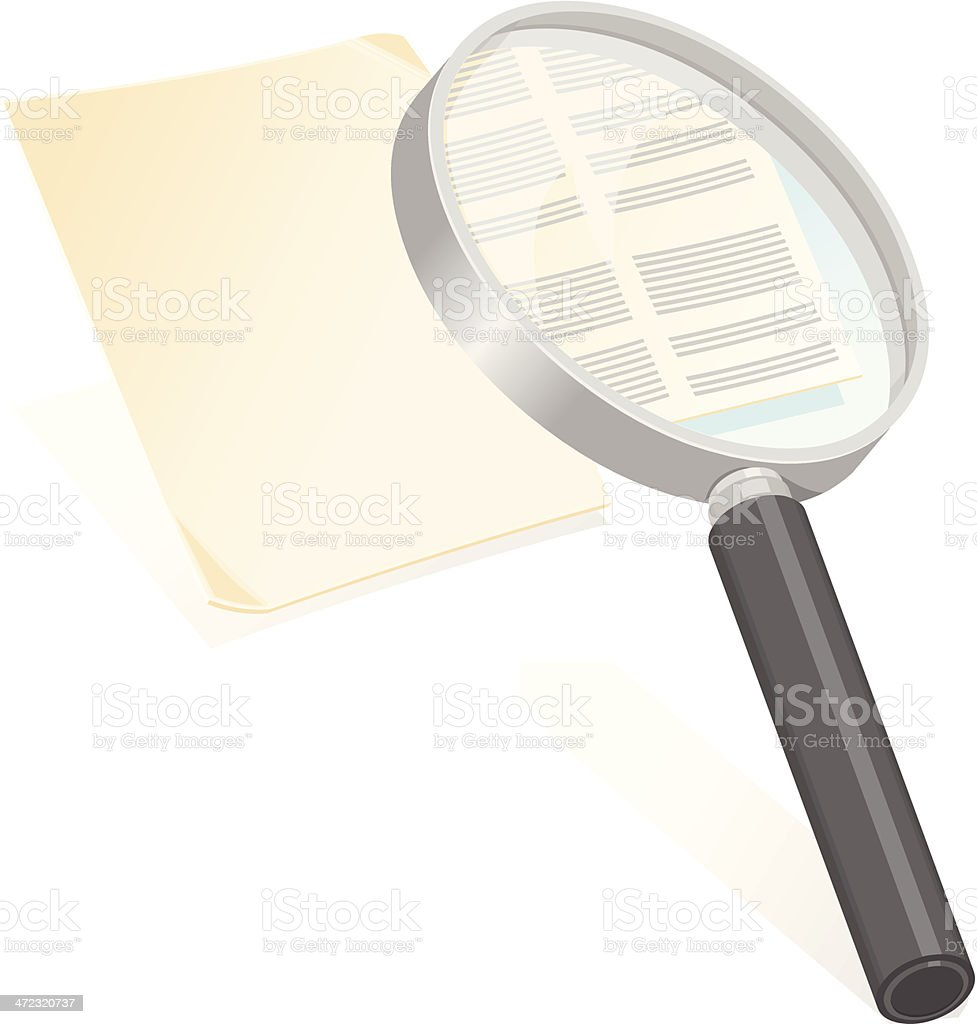 Magnifying Glass Examining A Document vector art illustration