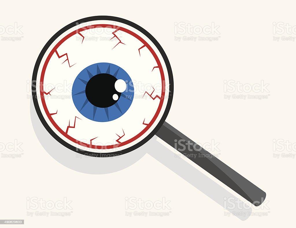 Magnifying Glass Eyeball vector art illustration