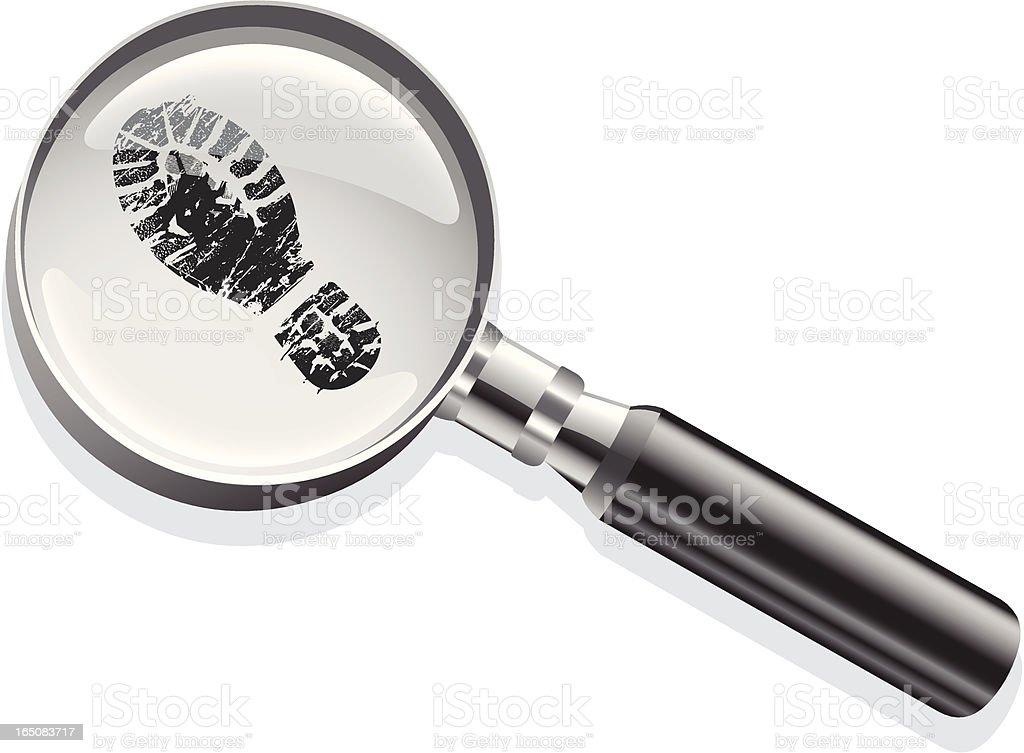 Magnifying glass footprint vector art illustration