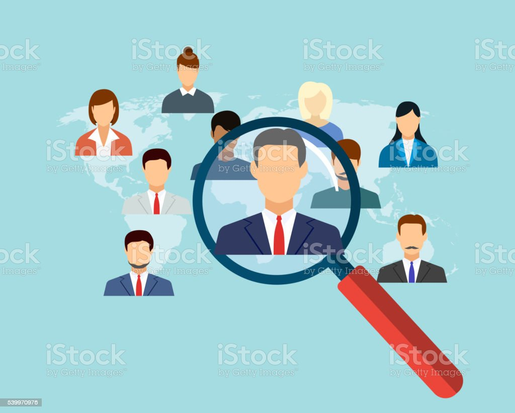 magnifying glass for choosing the right person vector art illustration