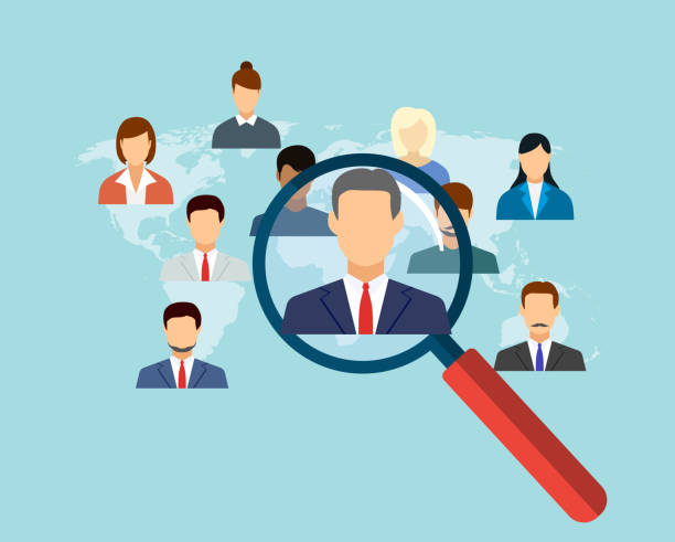 magnifying glass for choosing the right person magnifying glass for choosing the right person on word map for international best position. recruitment and job search concept. vector illustration in flat design candidate stock illustrations