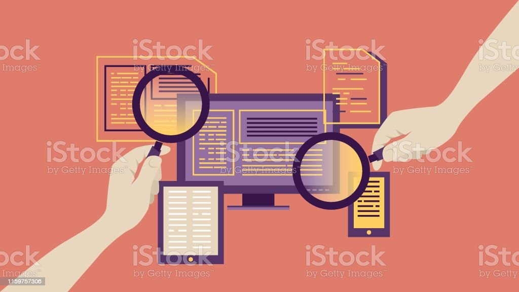 Magnifying glass for searching report Human Hand, Analyzing, Business, Chart, reporting Analyzing stock vector
