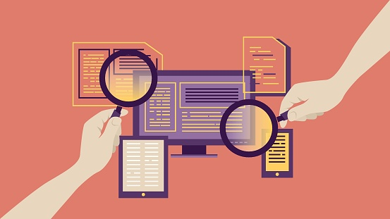 Magnifying Glass For Searching Report Stock Illustration - Download Image Now