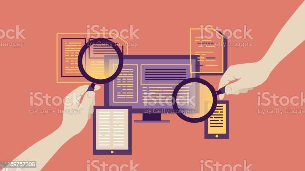 Ilustración de Lupa Para El Informe De Búsqueda y más Vectores Libres de Derechos de Analizar