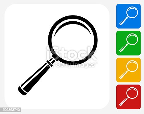Magnifying Glass Icon. This 100% royalty free vector illustration features the main icon pictured in black inside a white square. The alternative color options in blue, green, yellow and red are on the right of the icon and are arranged in a vertical column.